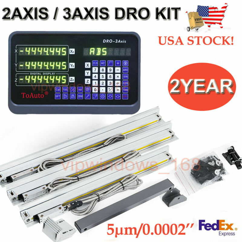 US 2Axis/3Axis Digital Readout Linear Glass Scale DRO Display Bridgeport Mill