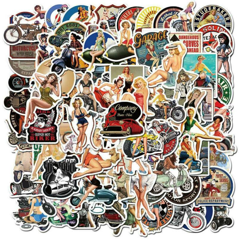 Home Decoration - 100Pcs/Lot Retro Vinyl Laptop Skateboard Stickers Luggage Decals Dope Stickers
