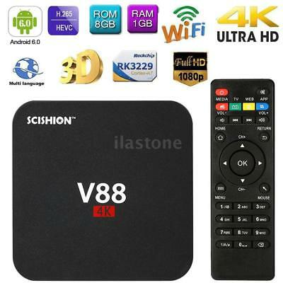 V88 Smart Android6.0 TV Box 4K RK3229 Quad Core 1G 8G 4K WiFi H.265 Media Player