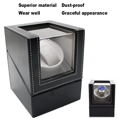 Automatic Rotation PU Watch Winder Storage Display Case Box With Power Plug USA