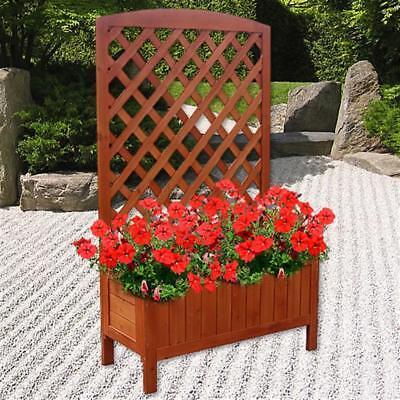 Holz Blumenkasten mit Rankgitter Blumenständer Rankkasten Rosengitter Kübel