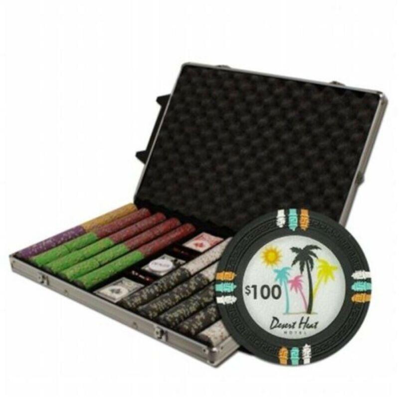 "New Poker Chip Set 500 Count 13.5g Claysmith ""Desert Heat""  Black Aluminum Case"