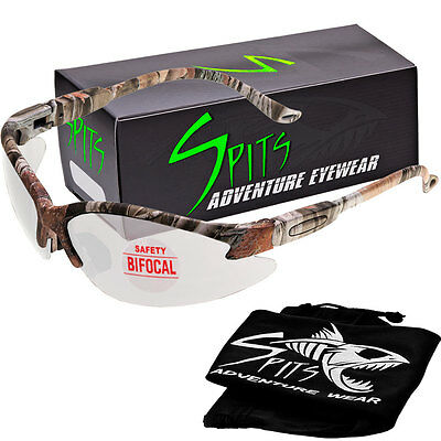 Spits Cougar BIFOCAL Safety Glasses - Forest Camo Frame - Clear 2.00 Magnifier
