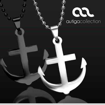Halskette Edelstahl Anker Anchor Anhänger Herren Damen mit Kugelkette