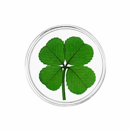 Real Four Leaf Clover Good Luck Pocket Token Item CH-4L