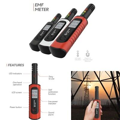 Rechargeable EMF Meter Radiation Detector Electromagnetic Field Tester Red New