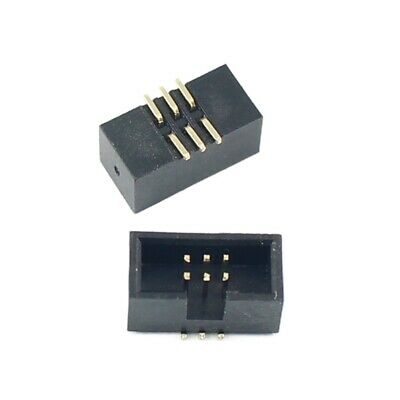 10pcs 1.27mm Pitch 2x3 Pin 6 Pin Smt Smd Male Shrouded Box Header Idc Connector