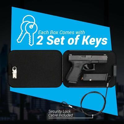 Portable Small Travel Gun Safe Case Pistol Handgun Valuables Lock Box Secure