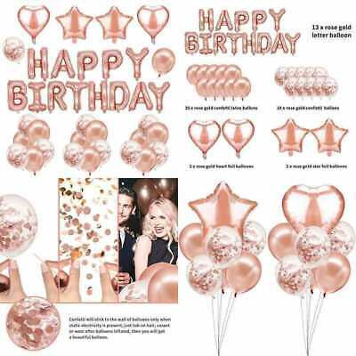 Golden Birthday Party Supplies (47Pcs Happy Birthday Decorations ROSE GOLD Party Supplies Banner Balloons Set)