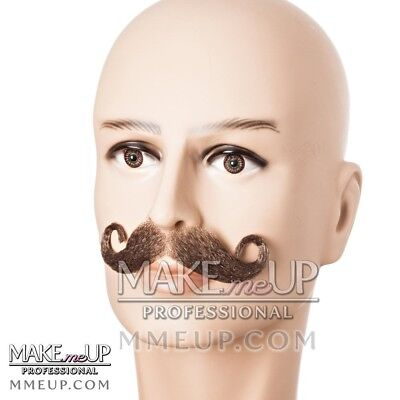 French Brown Handlebar Mustache Hair Makeup stage Theatrical costume Curly curl - Mustache Curl
