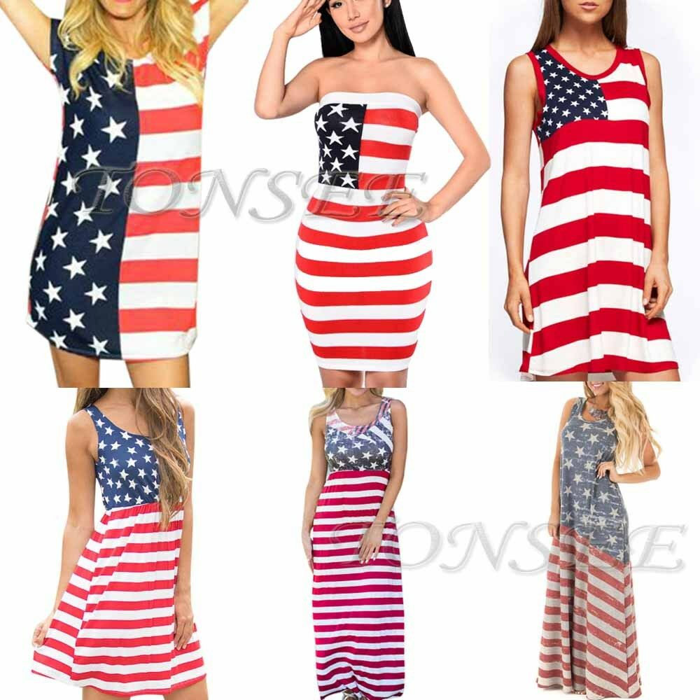 Women Sleeveless Maxi Beach Dress 4th Of July American Flag