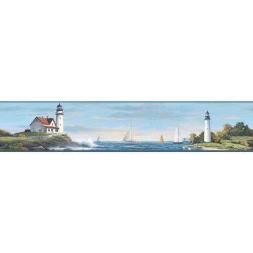 Nautical Living Sailing Lighthouse on Sure Strip Wallpaper Border NY4815BD