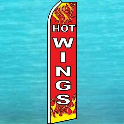 Hot Wings Flutter Flag Tall Curved Top Advertising Sign Feather Swooper Banner
