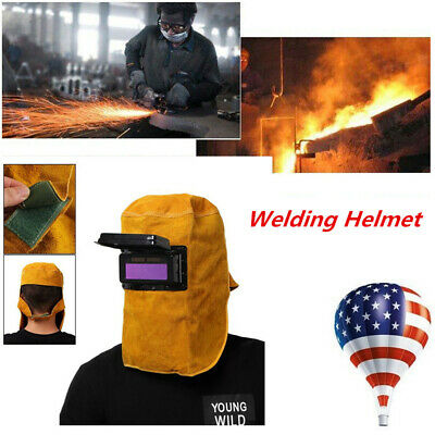 Leather Welding Helmet Hood Solar Auto Darkening Filter Double Lens Welder Mask