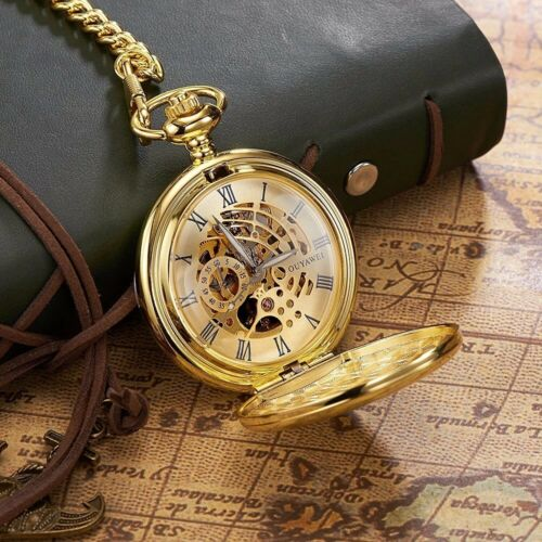 Pocket Watch Skeleton Mechanical Retro Gold Hand-winding Chain Vintage