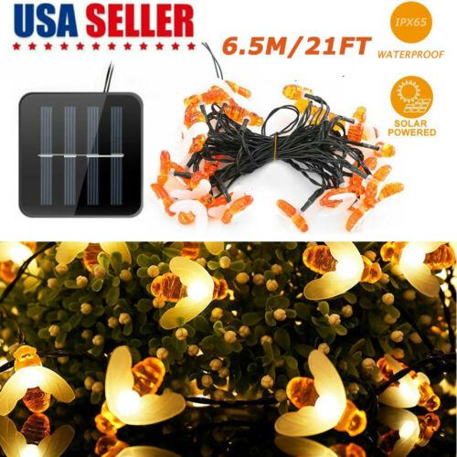 30 LED 20FT Solar String Lights Fairy Lights Honey Bee Shape Garden Yard Decor Home & Garden