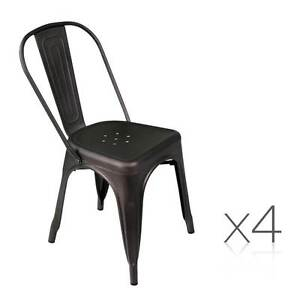 Set of 4 Metal Dining Chairs - Gunmetal Brisbane City Brisbane North West Preview