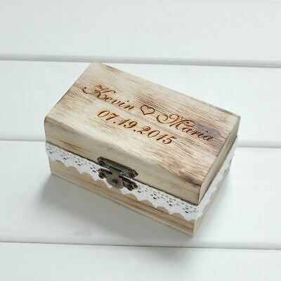 Personalized Wedding Ring Box Rustic Wood Gift Bearer Custom Names Date Holder  - Ring Bearer Gift