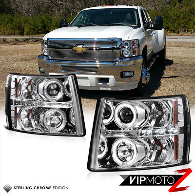For 07-14 Chevy Silverado 1500 2500HD 3500HD Chrome Halo LED Projector Headlight