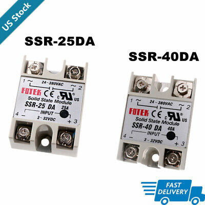 1pcs Solid State Relay Ssr-40da Ssr-25da 3-32vdc To 24-380vac New