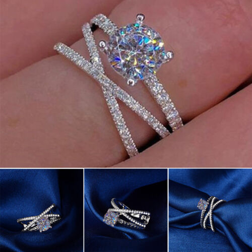 Women's 925 Silver White Sapphire Ring Set Wedding Engagemen