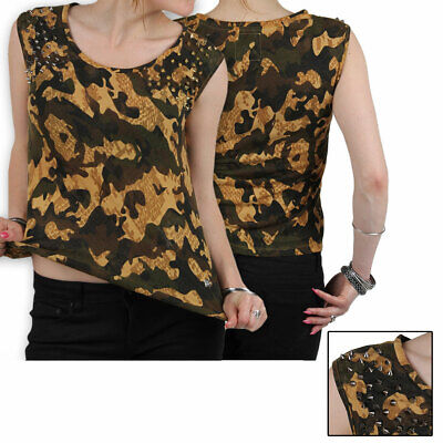 Redbridge by CIPO & Baxx 85199 Sexy Damen T-Shirt Armee Nieten - Armee Damen-t-shirt