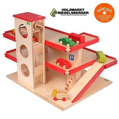 BECK Parkhaus mit Aufzug, Rot, ohne Fahrzeuge, Spielzeug, Holzspielzeug 30000