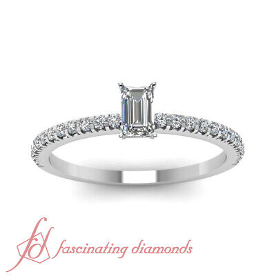 Affordable Engagement Ring 0.70 Ct Emerald Cut & Round Diamond In 14K Gold GIA 1