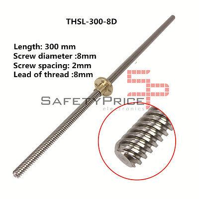 THSL 300-8D Tornillo Tuerca cobre CNC 3D Impresión RepRap Husillo T8 30cm...