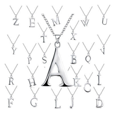 (Sterling Silver Plated Necklace Women Pendant Initial Letter Alphabet B375)