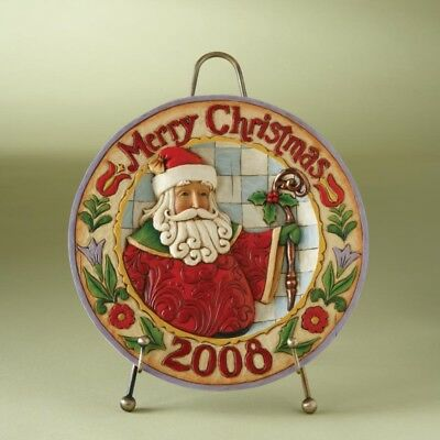 Jim Shore, Dated 2008 Santa Plate And Stand, 8.25 Inches H, New In Box, 4010895