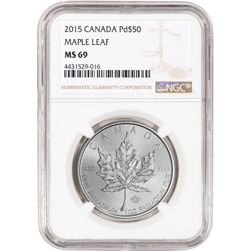 2015 Canada Palladium Maple Leaf $50 - NGC MS69