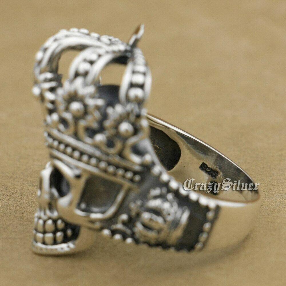 925 Sterling Silver King Skull Crown Mens Biker Punk Ring 9W003C UK Size N½~Z4