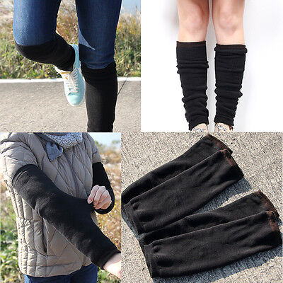 """2 Pairs Mens Black Winter Leg Warmers Socks """"Skin contact surface is 100% cotton"""