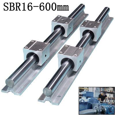 Sbr16-600mm 16mm Linear Slide Guide Shaft 2 Rail4 Sbr16uu Bearing Block Cnc Set