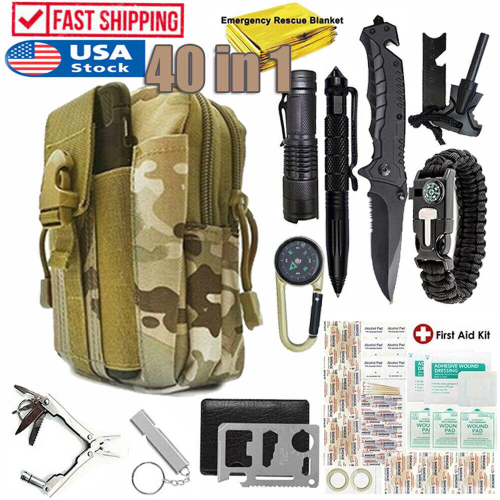40 in 1 Emergency Survival Kit Outdoor Camping Military Tact