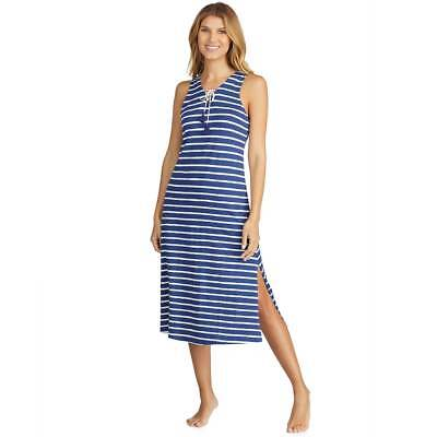 Women's Cuddl Duds Navy Blue Striped Weekend Getaway Pajama Maxi Dress Small