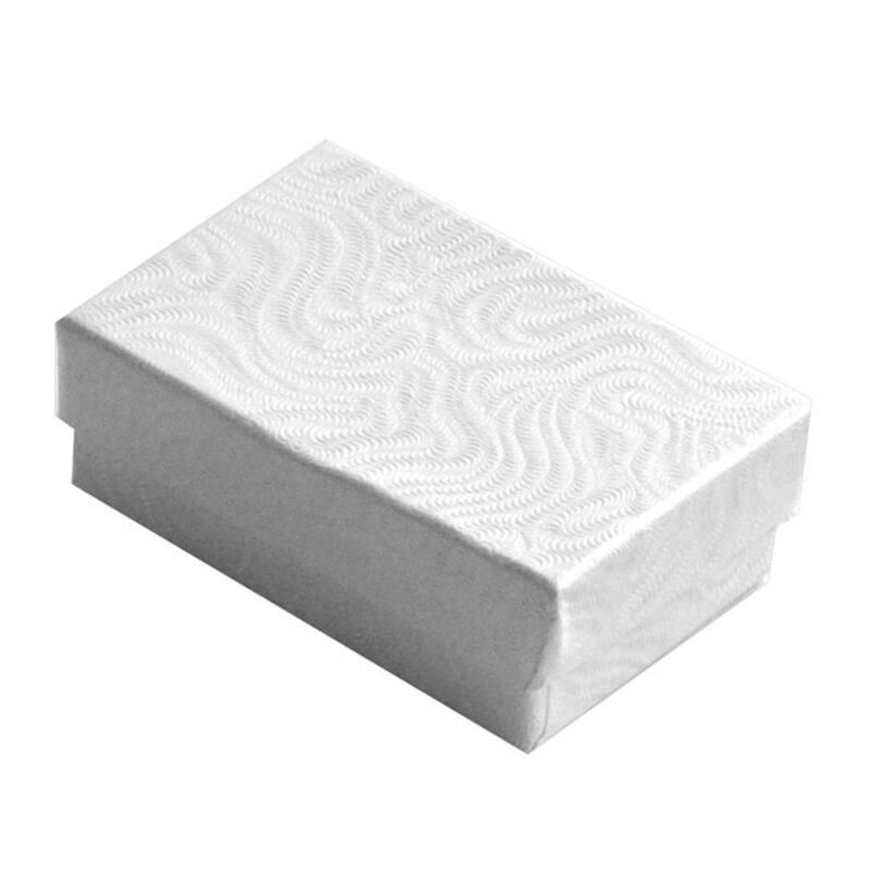 Wholesale 1000 White Swirl Cotton Filled Jewelry Gift Boxes 2 5/8 x 1 1/2 x 1
