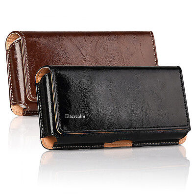 Cellphones Horizontal Carrying Leather Pouch Case Cover With Belt Clip (Cellular Phone Leather Carrying Case)