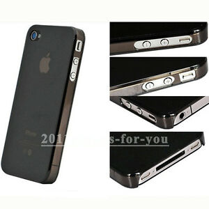Black 0.5mm Ultra Thin Slim Matte Hard Plastic Case Cover For iPhone 4 4GS 4S