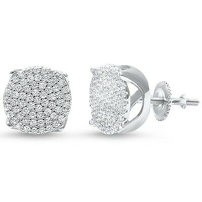 Round Micro Pave Hip Hop Cubic Zirconia .925 Sterling Silver Stud Earrings