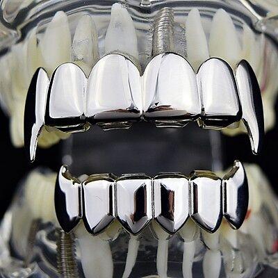 Best Grillz Full Fang Set Silver Tone Fangs Top And Bottom Shiny Vampire Teeth - Silver Vampire Fangs