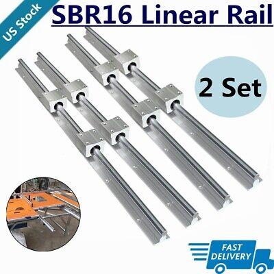 4x Sbr16 Linear Rail 300mm-2000mm Fully Supported Shaft Rod8x Sbr16uu Block Set