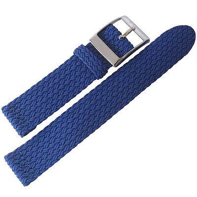 - 20mm Eulit PALMA PACIFIC Royal Blue Two-Pc Woven Nylon Perlon Watch Band Strap