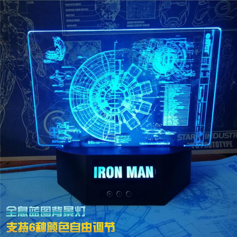 Iron Man Reactor Holographic Clock Night Light LED USB Table Lamp Xmas Gifts New