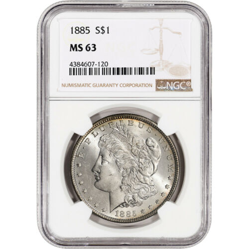 1885 US MORGAN SILVER DOLLAR $1 - NGC MS63