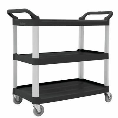 Hubert Plastic Cart With 3 Shelves Black - 40 14 L X 19 78 W X 37h