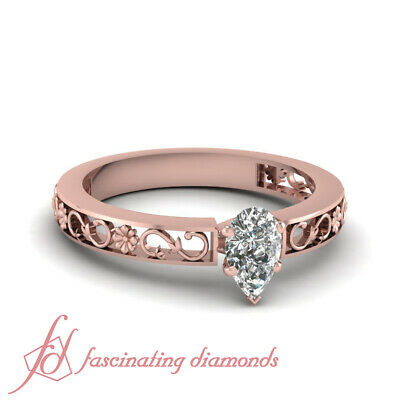 1/2 Carat Pear Shaped Diamond Vintage Inspired Rose Gold Wedding Rings Set GIA