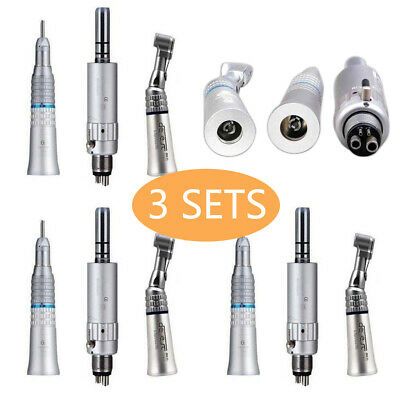 3-set Dental Slow Speed Handpiece Contra Angle Straight Air Motor E-type 4-hole
