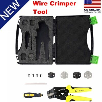 Us Professional Insulated Wire Terminals Connector Ratcheting Crimpers Tool Kit